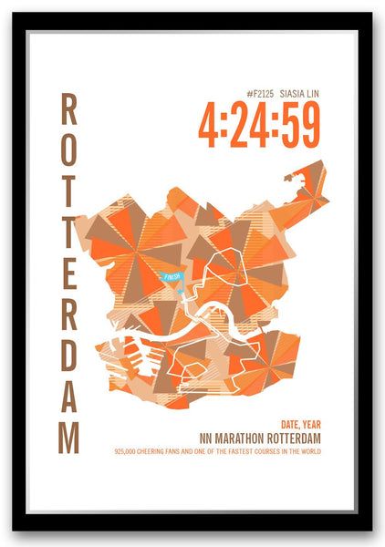 NN Rotterdam Marathoner Map - Run Ink