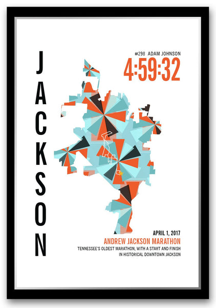 Andrew Jackson Marathoner Map - Run Ink