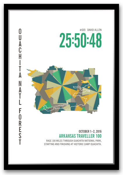 Arkansas Traveler 100 Marathoner Map - Run Ink