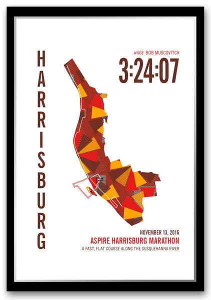 Aspire Harrisburg Marathoner Map - Run Ink