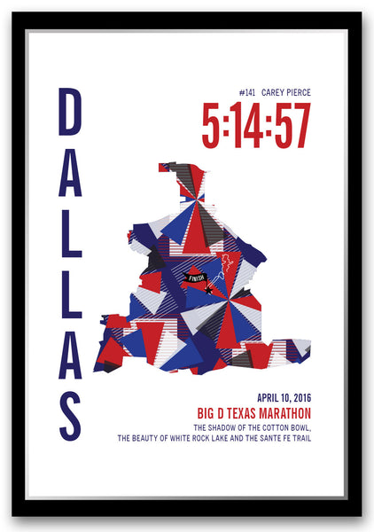 Big D Marathoner Map - Run Ink