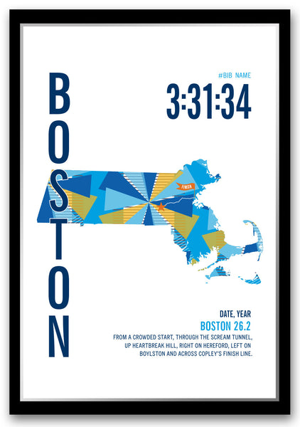 Boston Marathoner Map Print - Run Ink
