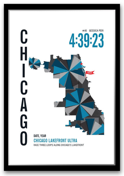 Chicago Lakefront 50k Marathoner Map - Run Ink