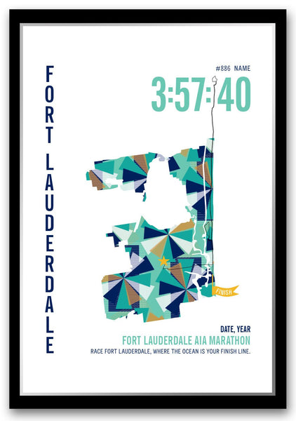 Fort Lauderdale A1A Marathoner Map - Run Ink