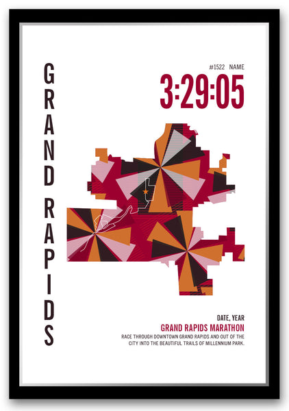 Grand Rapids Marathoner Map - Run Ink