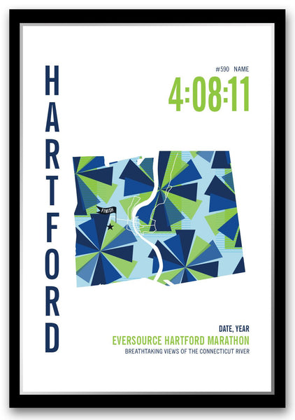 Hartford Marathoner Map - Run Ink