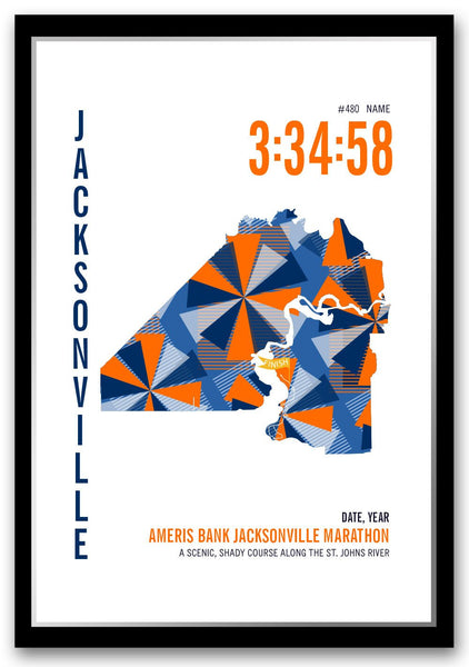 Jacksonville Marathoner Map - Run Ink