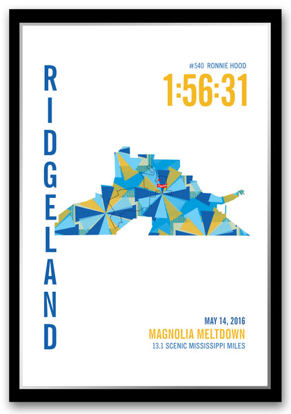 Magnolia Meltdown Marathoner Map - Run Ink