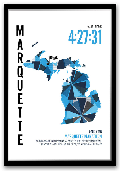 Marquette Marathoner Map - Run Ink