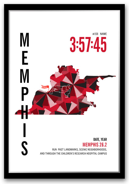 Memphis Marathoner Map - Run Ink