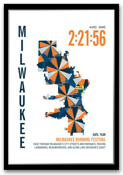 Milwaukee Running Festival Marathoner Map - Run Ink