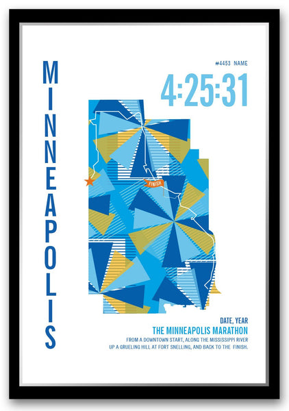 Minneapolis Marathoner Map - Run Ink