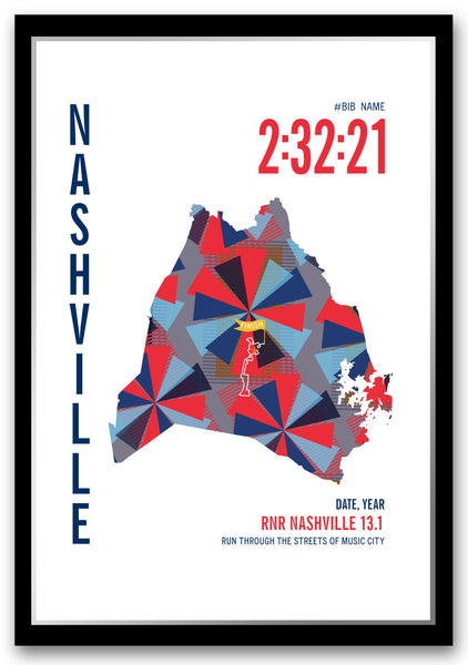 RNR Nashville Half Marathoner Map - Run Ink