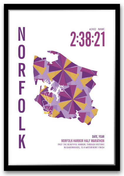 Norfolk Harbor Half Marathoner Map - Run Ink