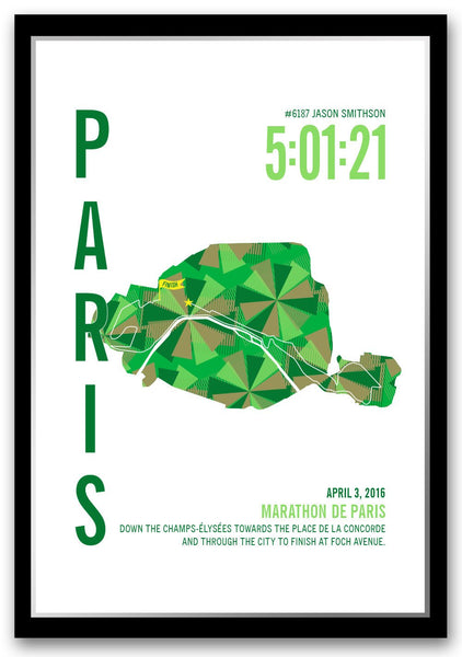 Paris Marathoner Map - Run Ink - 1