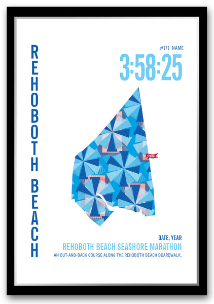 Rehoboth Beach Seashore Marathoner Map - Run Ink