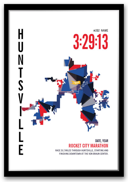 Rocket City Marathoner Map - Run Ink