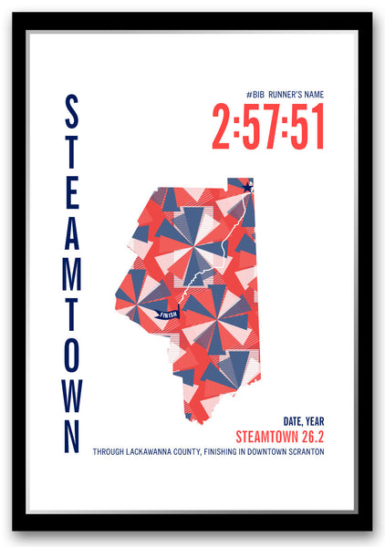 Steamtown Marathoner Map - Run Ink