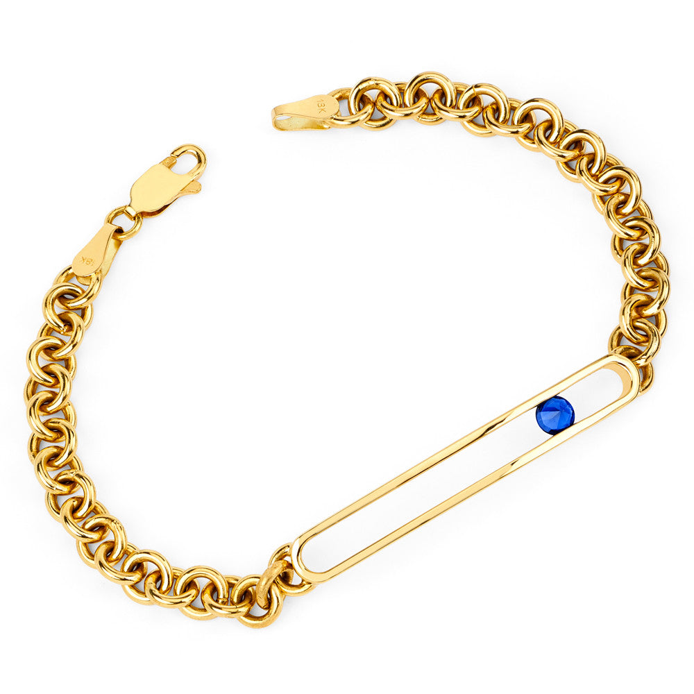 Negative Space Id Bracelet in Yellow Gold