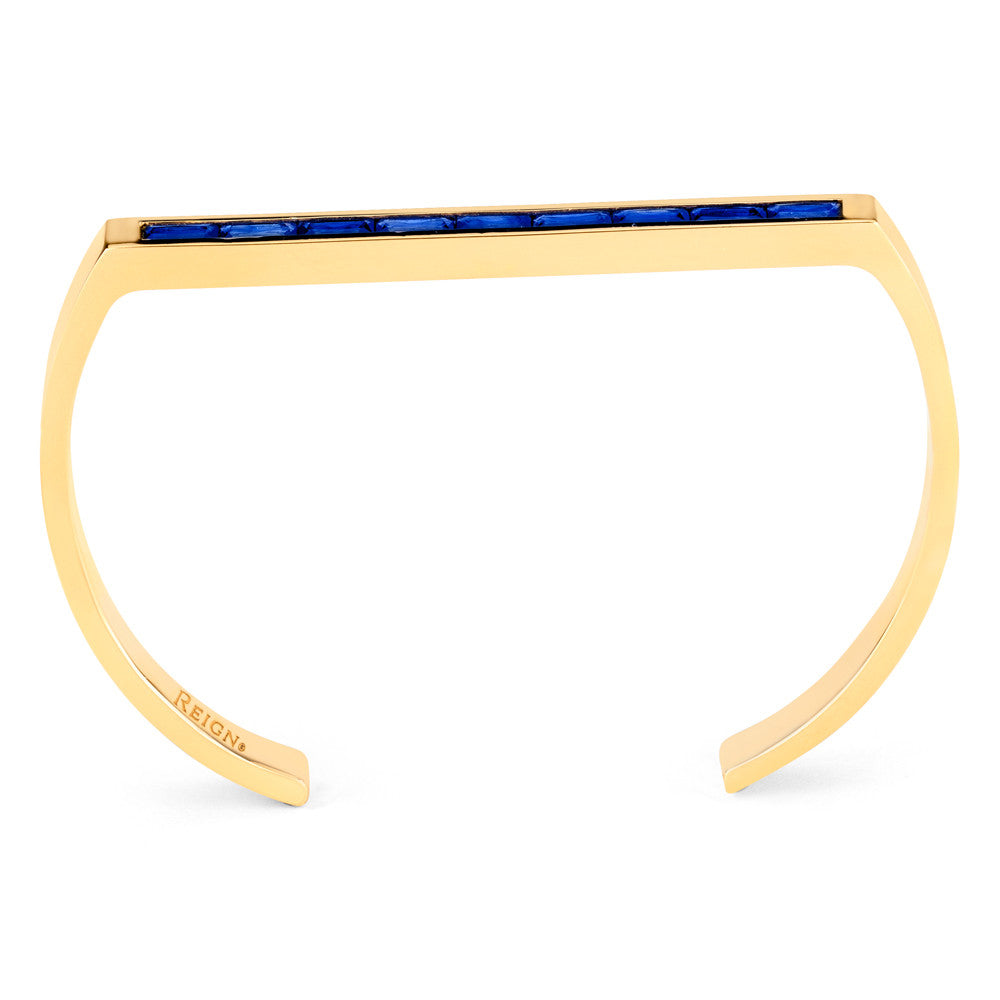 Linear Baguette Cuff in Yellow Gold