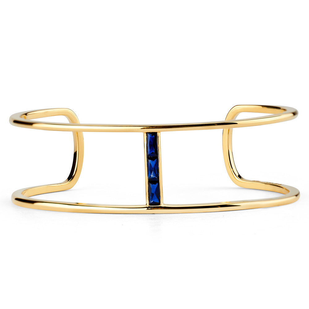 Baguette Single Bridge Cuff in Yellow Gold