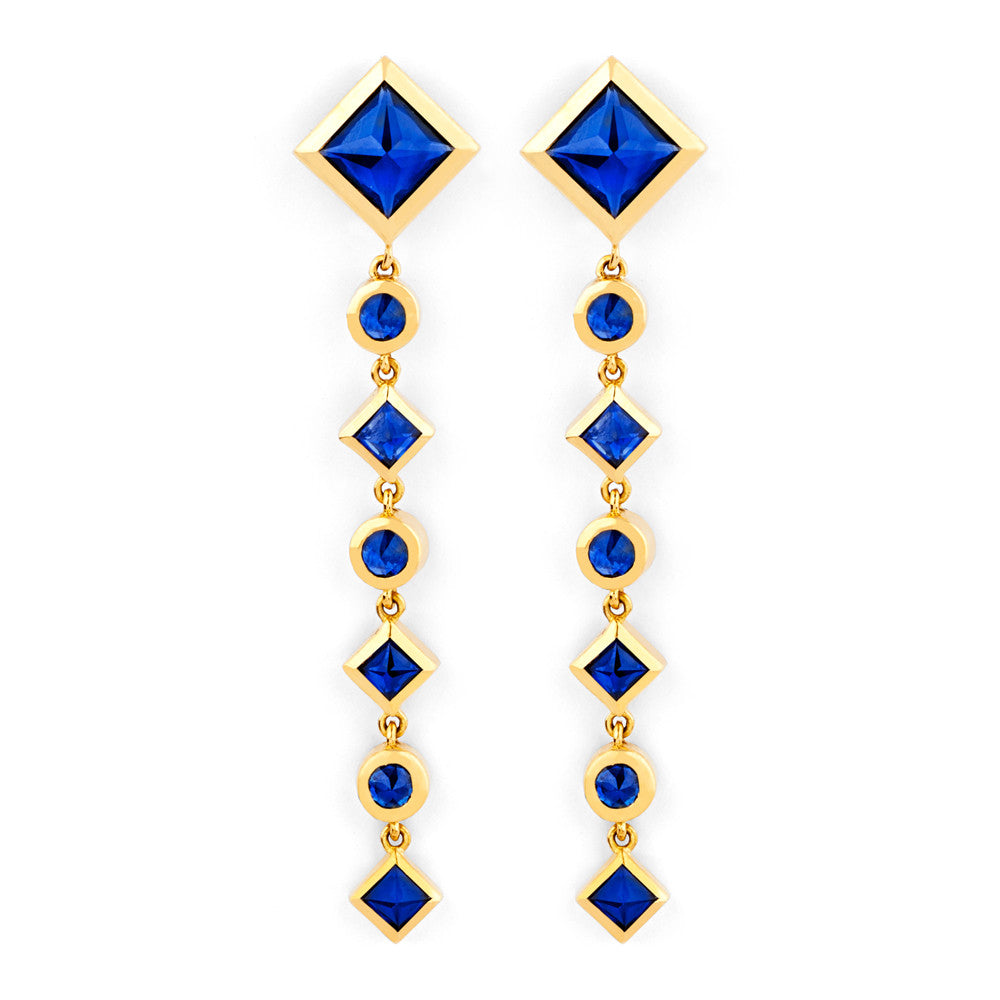 Inverted Dangle Earrings in Yellow Gold