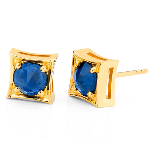 Inverted Set Frame Stud Earrings In Yellow Gold