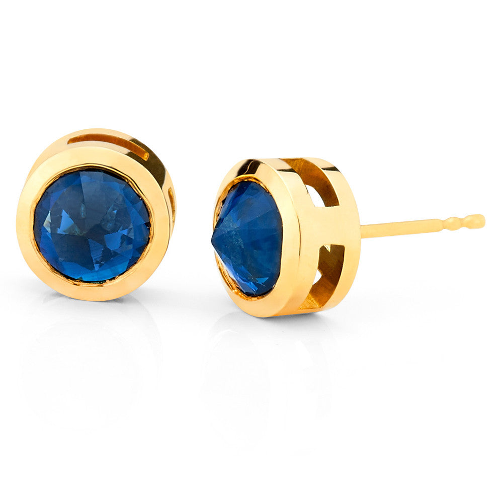 Inverted Set Bezel Set Stud Earrings In Yellow Gold