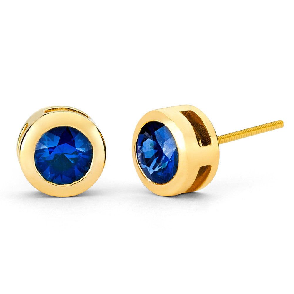 Bezel Set Stud Earrings In Yellow Gold