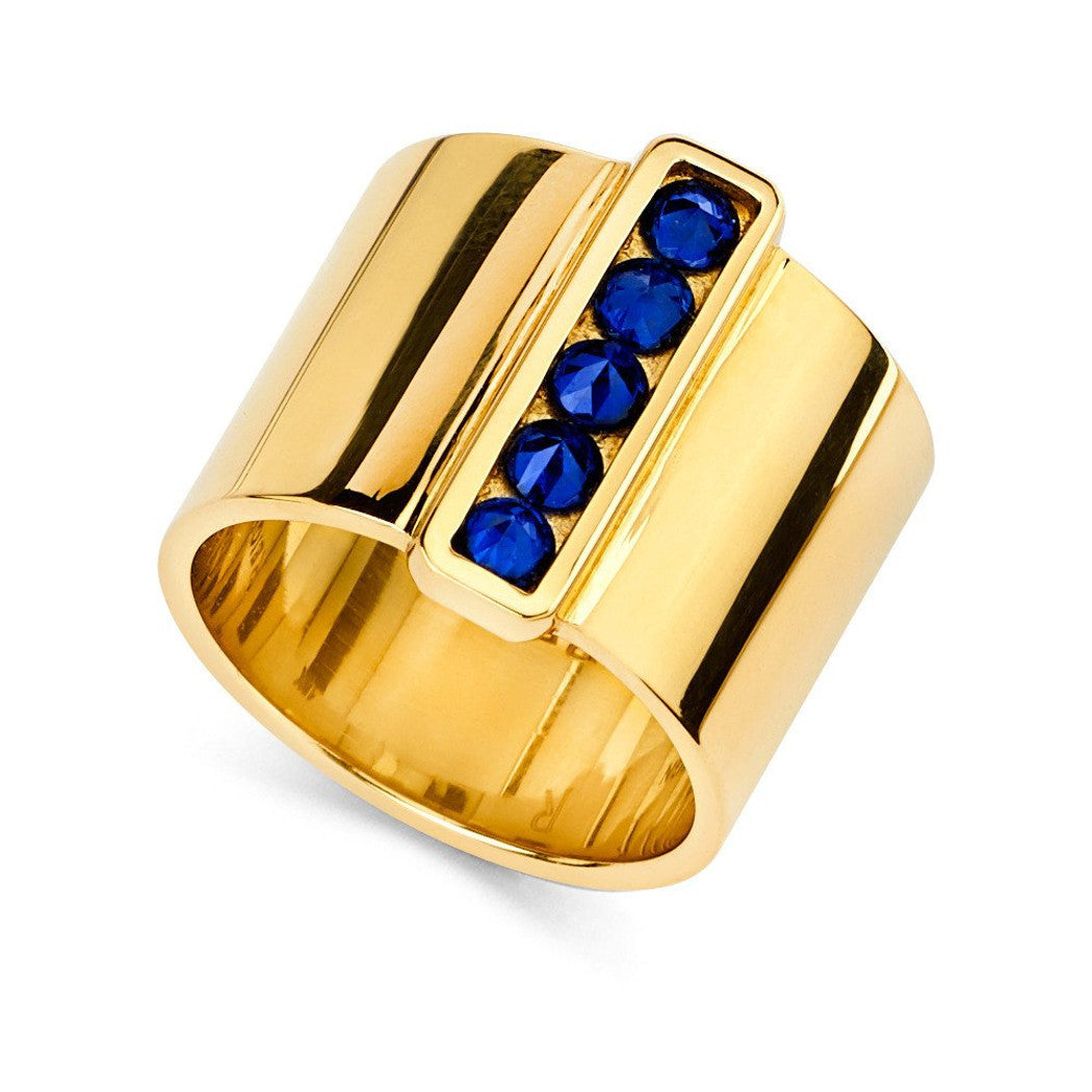 Cigar Band With Inverted Set Sapphire Bar