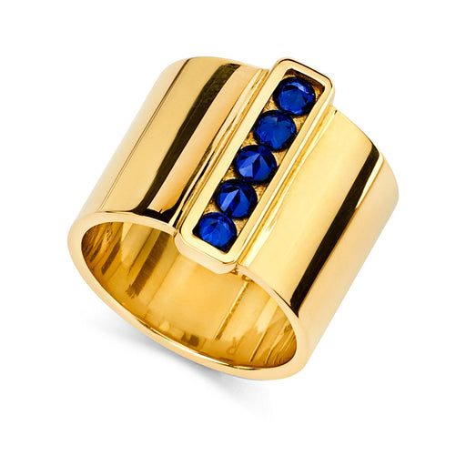 Cigar Band With Inverted Set Sapphire Bar in Yellow Gold