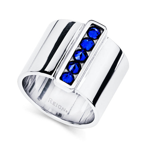 Cigar Band With Inverted Set Sapphire Bar in Sterling Silver