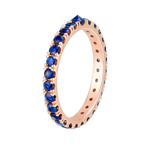 Inverted Sapphire Eternity Band in Rose Gold