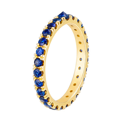 Inverted Sapphire Eternity Band in Yellow Gold