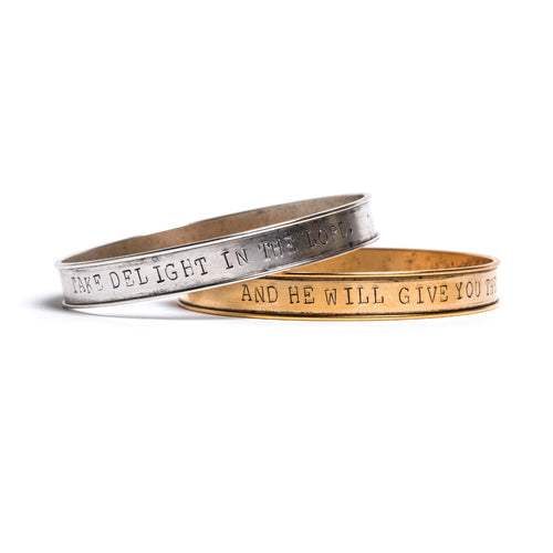 Psalm 37:4 Stamped Bangles