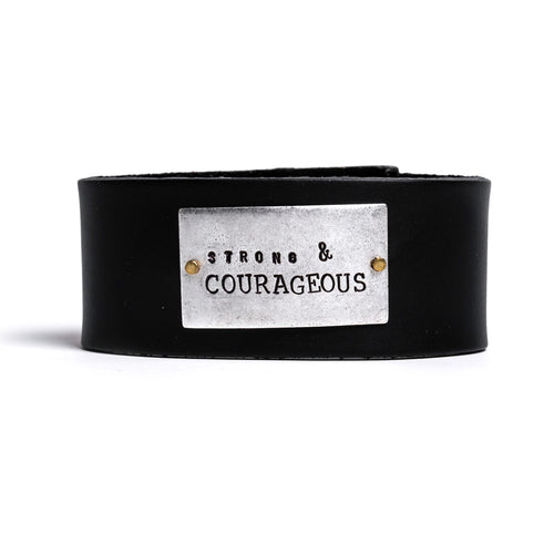 Strong and Courageous Thick Leather Cuff