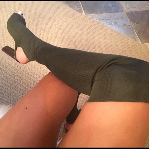 Olive Peep Toe Thigh High Boot
