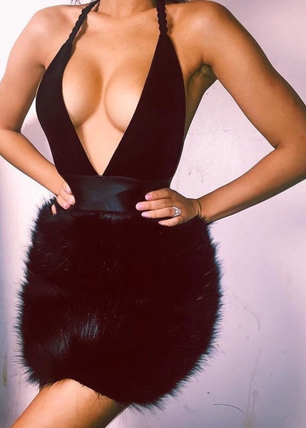 Black Fur Bottom Halter Dress