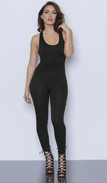 Black Sleeveless Jumpsuit Unitard
