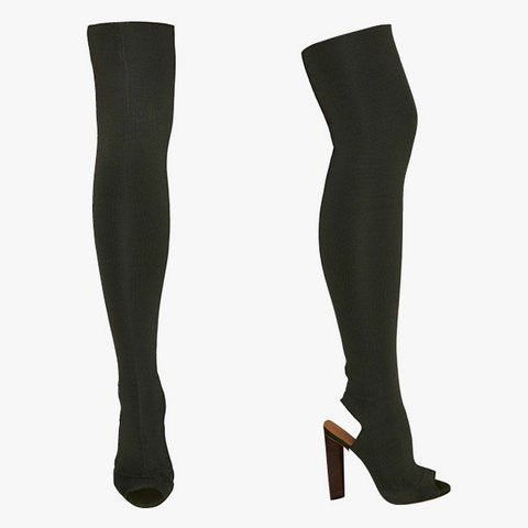 Black Peep Toe Thigh High Boot