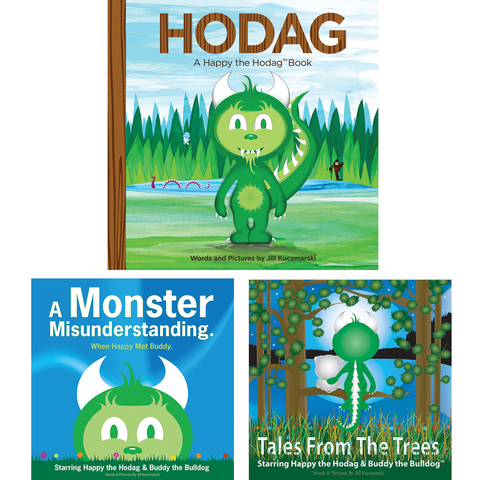 Three book covers including HODAG, A Happy the Hodag Book, A Monster Misunderstanding, When Happy met Buddy and Tales From the Trees. All three book cover illustrations feature Happy the Hodag with a nature background.