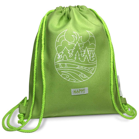Lime green drawstring backpack with white line art of trees, water and a Meshipeshu hiding in the waves. A white sewn on tab under the art reads HAPPY.