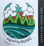 Sticker shaped like Happy the hodag's head with colorful artwork of sky, trees, water and a Meshipeshu hiding in the waves with the text Happy the Hodag