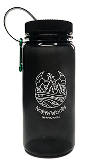 "Charcoal grey, 7.25"" tall, BPA-free and durable AS Plastic. Features  white line art of trees, water and the mishipeshu hiding in the saves and the text 'Northwoods'"