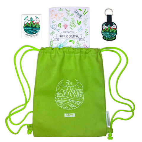 Layout features lime green backpack, keychain, nature journal and sticker