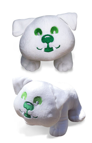 "The Buddy the Bulldog premium plush toy is 6"" tall and 8"" long. Buddy has a fully embroidered green eyes, nose and mouth, soft white fur and is self-standing."