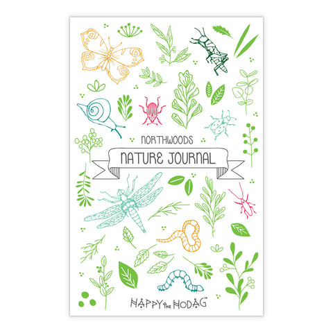 Colorful artwork of leaves, bugs, flowers, critters and the text 'Northwoods Nature Journal' 'Happy the Hodag'