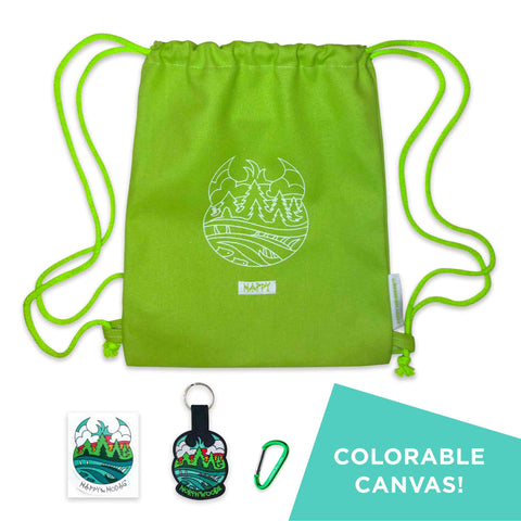 Lime green drawstring backpack with white line art of trees, water and a Meshipeshu hiding in the waves. A white sewn on tab under the art reads HAPPY. Matching but colorful artwork on a sticker and keychain