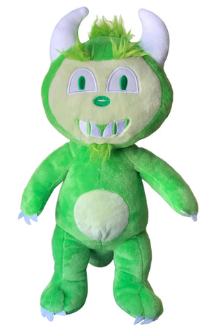"Happy the Hodag premium plush toy stands 12"" tall, is self-standing and features an embroidered sage and green face and soft green fur."