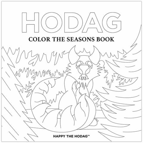 Hodag, Color the seasons book cover. Black line art depicts the back of a Hodag with it's head turned and looking at you. The Hodag is from the June spread and is surrounded by trees. The cover is colorable.